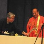 45-й глава школы ИКЭНОБО Сэн Эй и профессор Есинори Катцуки